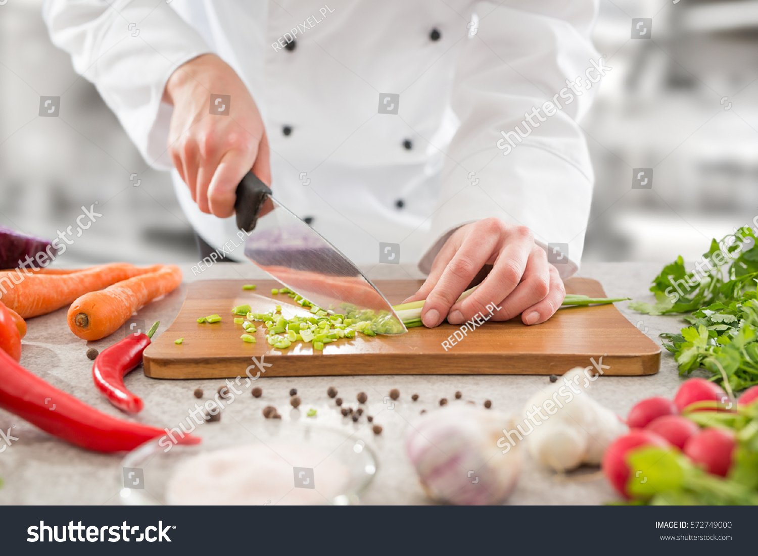 Chef cooking food kitchen restaurant cutting stock photo for Fresh chef kitchen