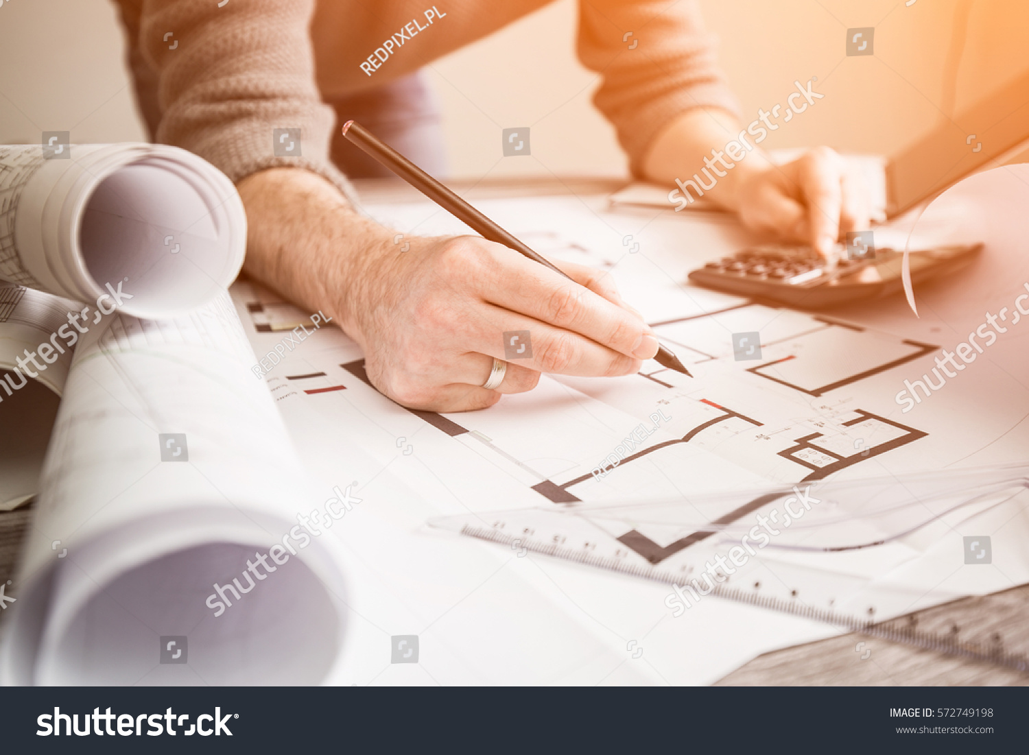 Architect architecture drawing project blueprint office stock photo architect architecture drawing project blueprint office business working architectural construction design designer ruler table workplace concept malvernweather Choice Image
