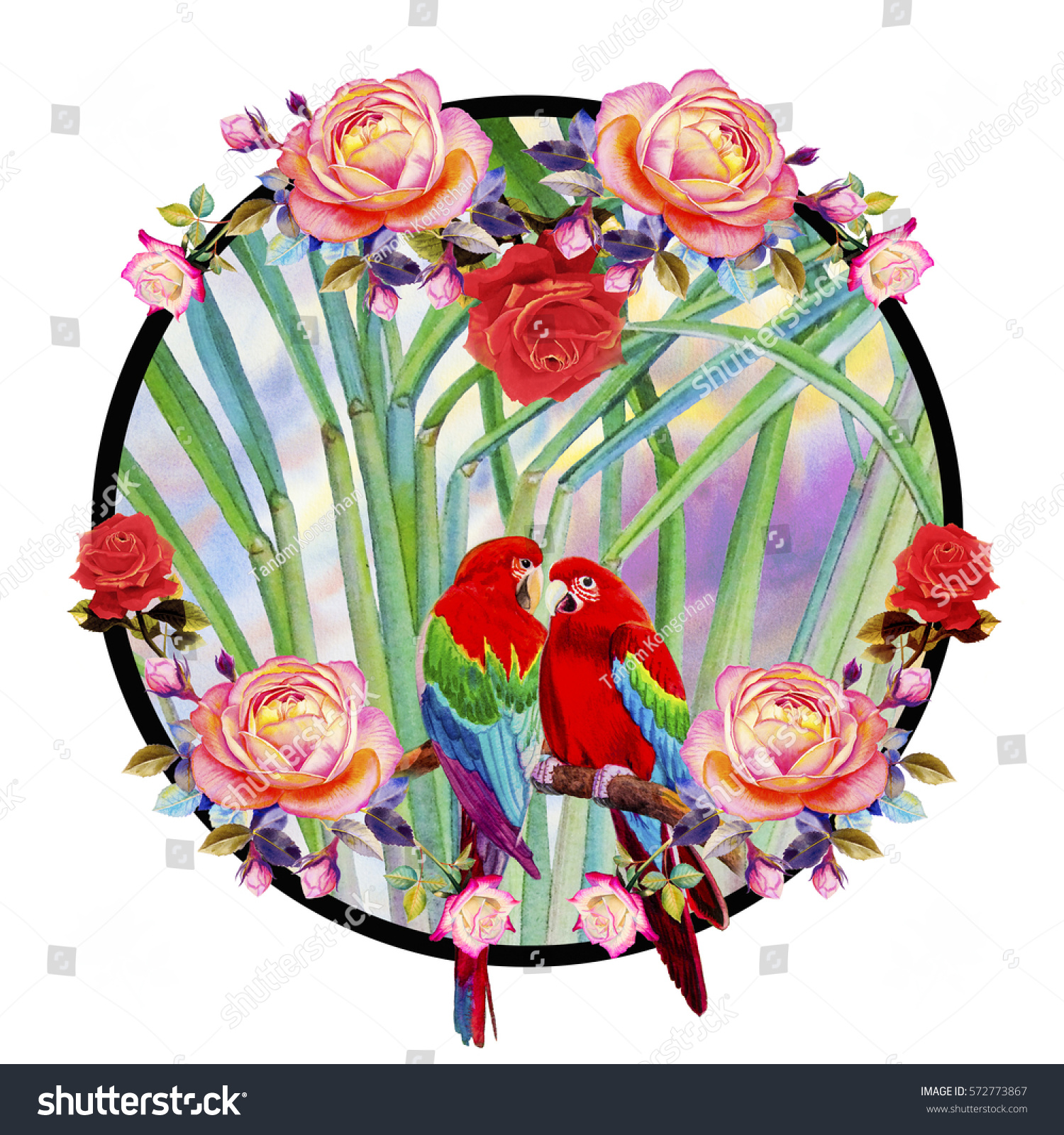 Painting Red Pink Orange Color Circle Stock Illustration 572773867 ...