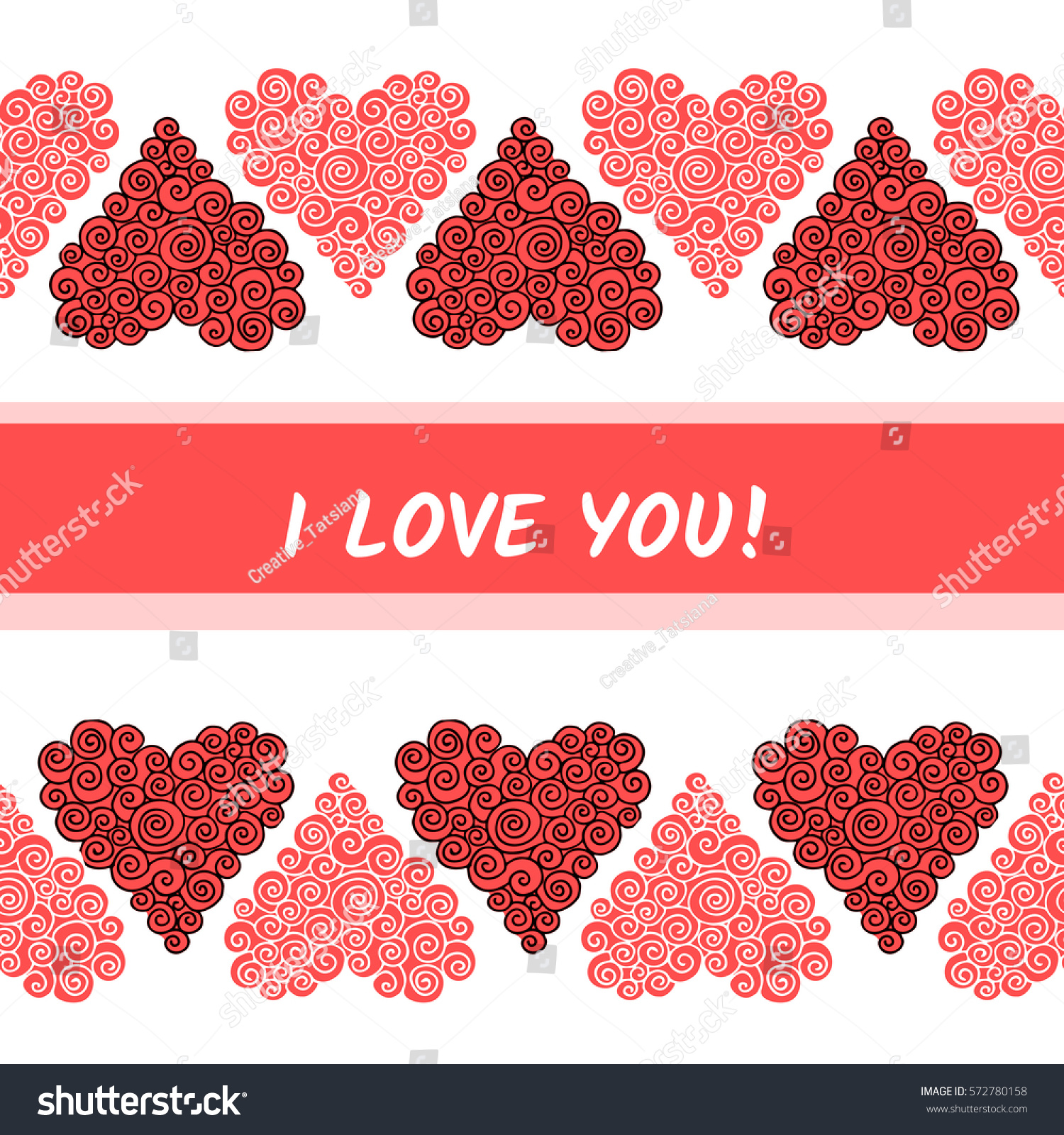 greeting card template pink red curly stock illustration 572780158