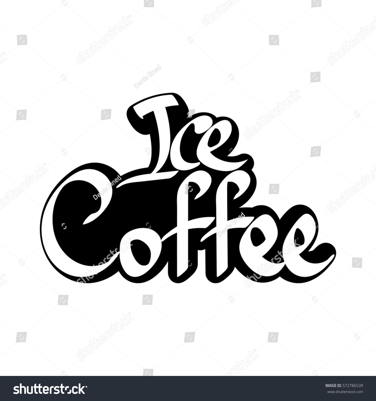 Ice Coffee Isolated Sticker Calligraphy Lettering Stock