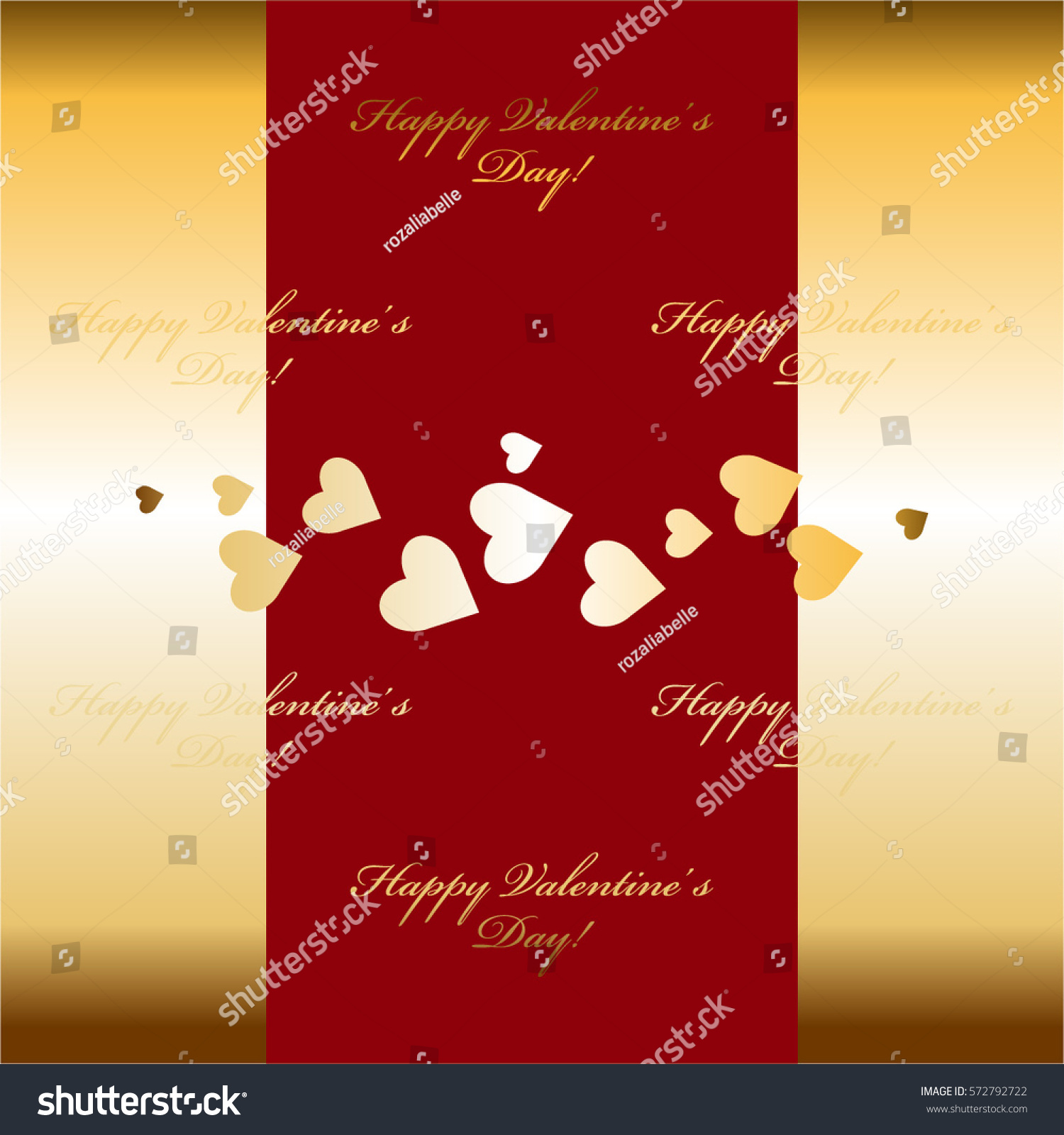 Golden Hearts Red Gold Background Stock Vector
