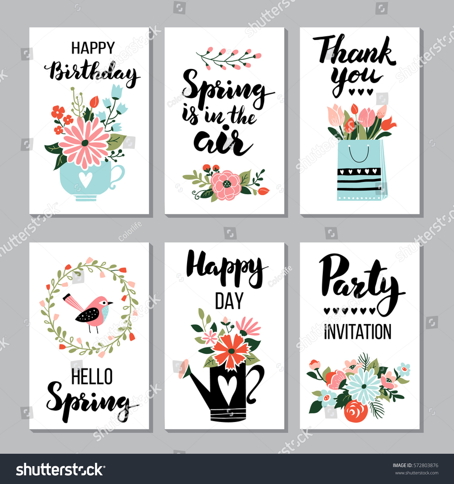 Spring card set quotes calligraphy stock vector