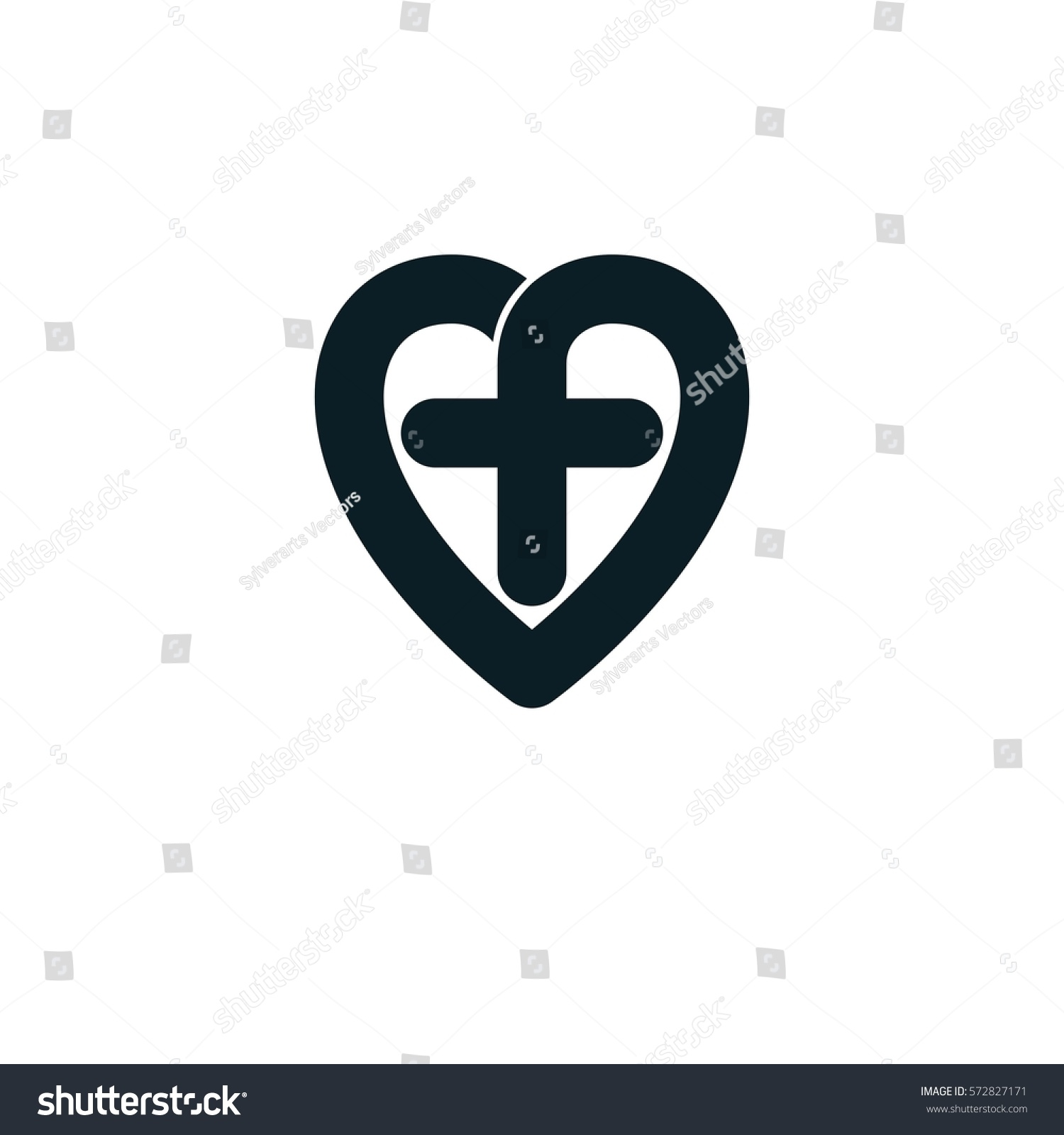 Love God Conceptual Symbol Combined Christian Stock Vector Royalty