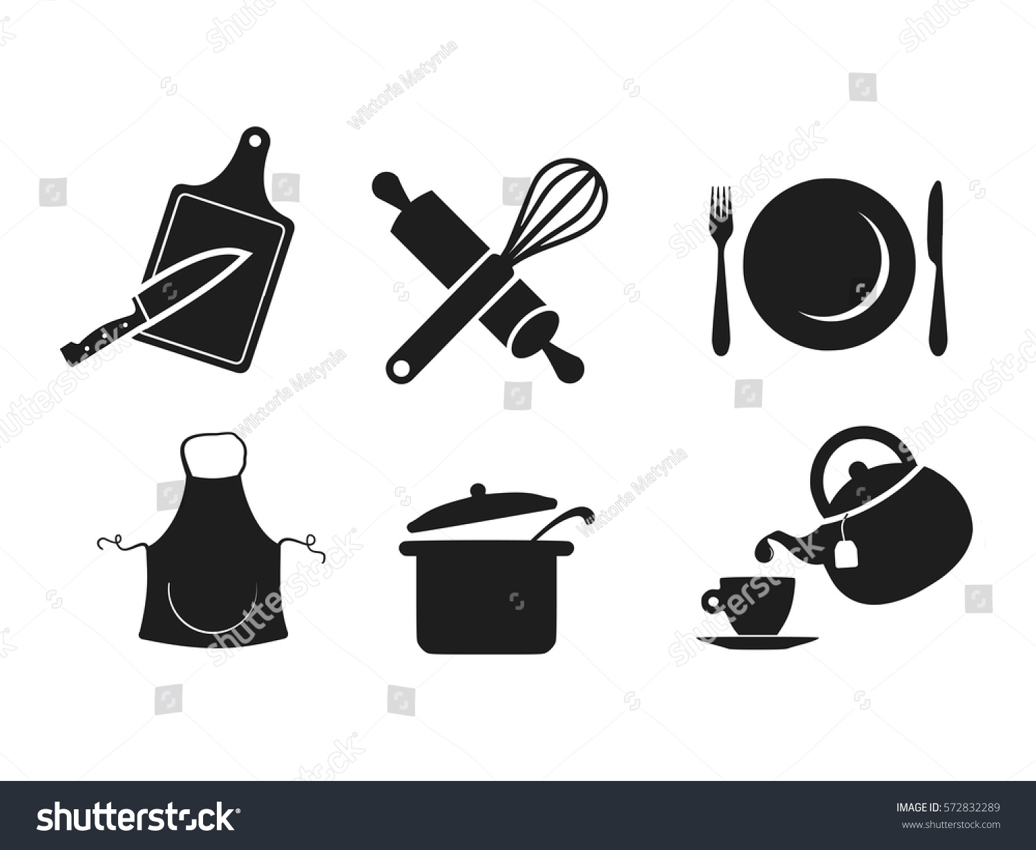 Kitchen icon set vector stock vector 572832289 shutterstock for Kitchen set vector