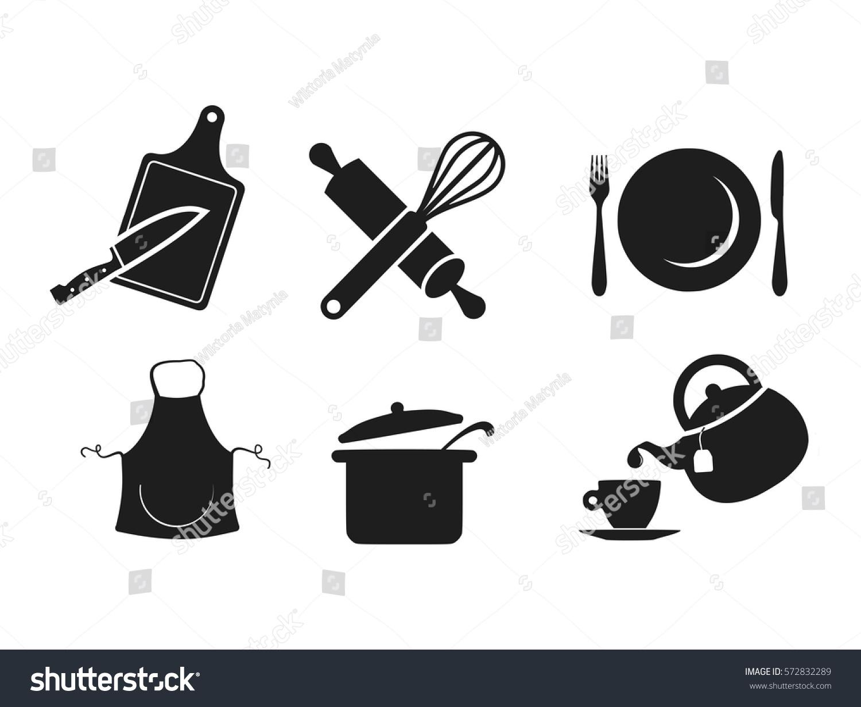 Kitchen icon set vector stock vector 572832289 shutterstock for Kitchen set vector