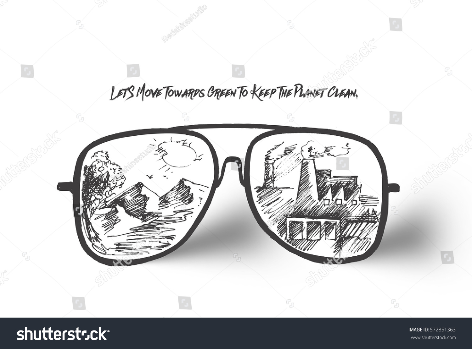 Reflection of a environmental factory air pollution in sunglasses hand drawn sketch vector illustration