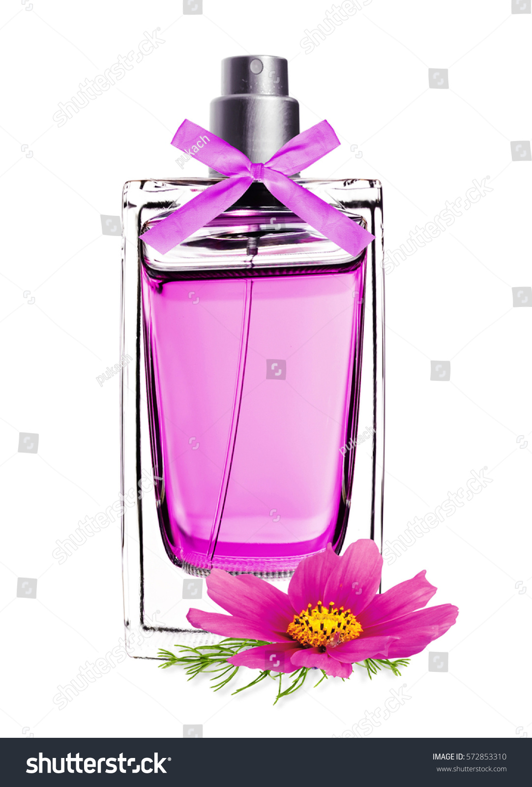 Perfume In Beautiful Bottle With Pink Flower Isolated On White Ez