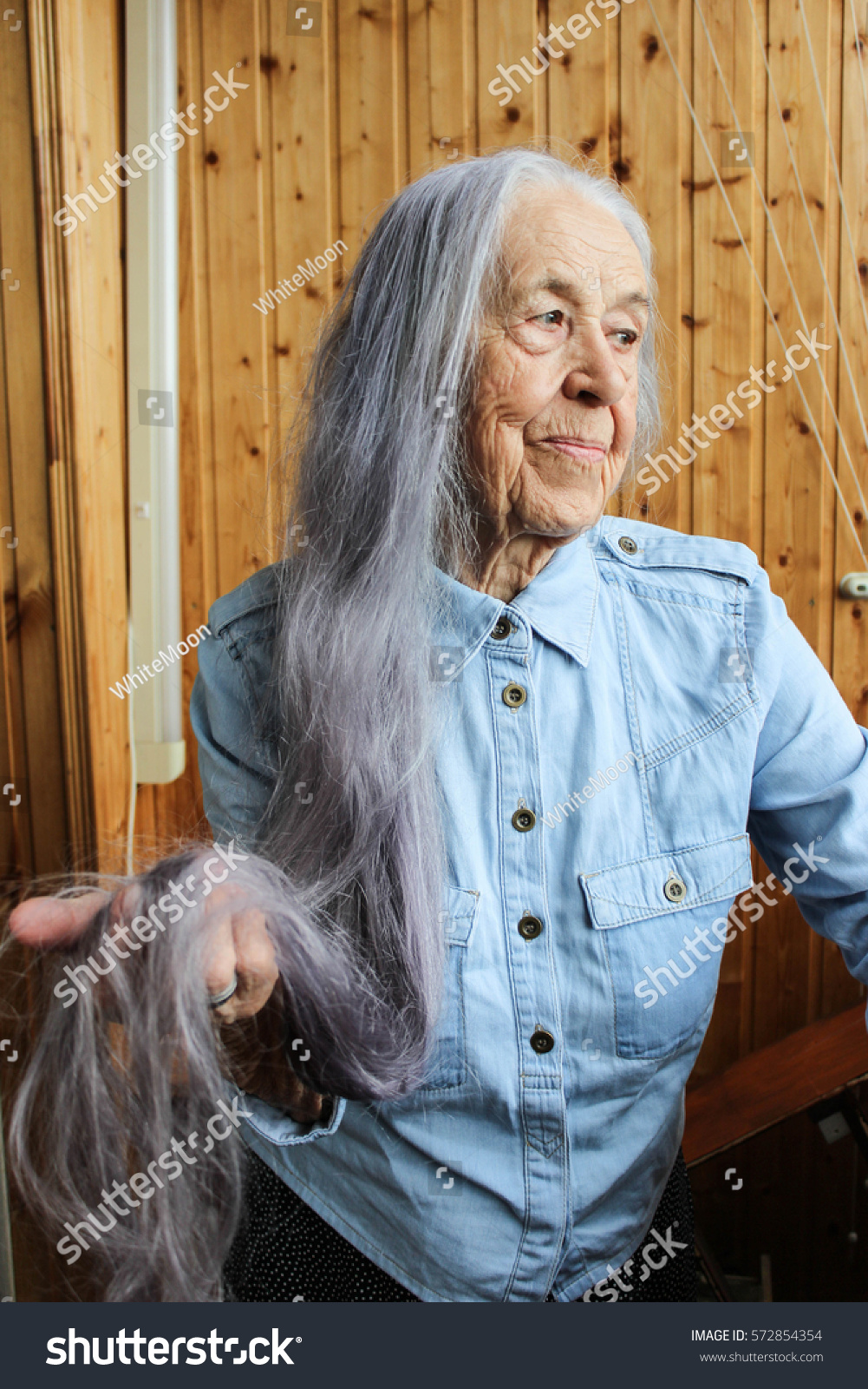 Old Woman Long Gray Hair Stock Photo Edit Now 572854354 Shutterstock