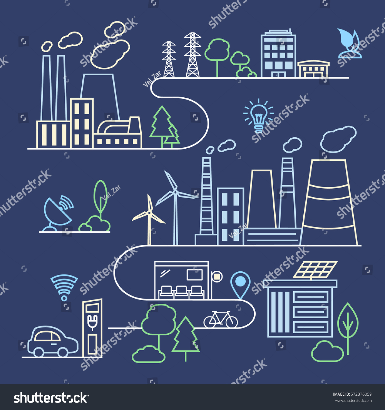 Line Art Generator From Image : Smart city illustration linear style factory stock vector