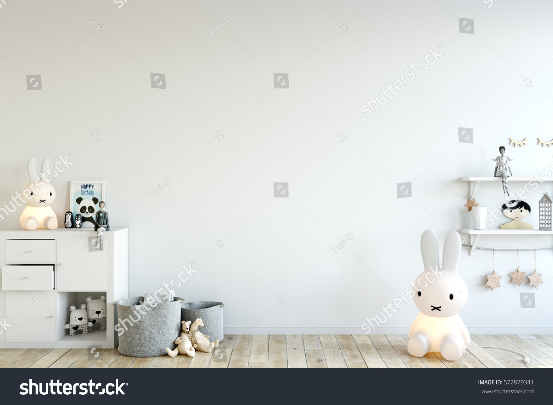 Gemutlich In Italiano : mock up wall in child room interior Interior scandinavian style 3d
