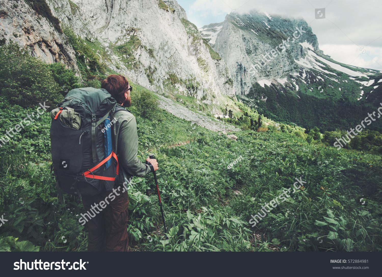Man Traveler Backpack Hiking Travel Lifestyle Stock Photo