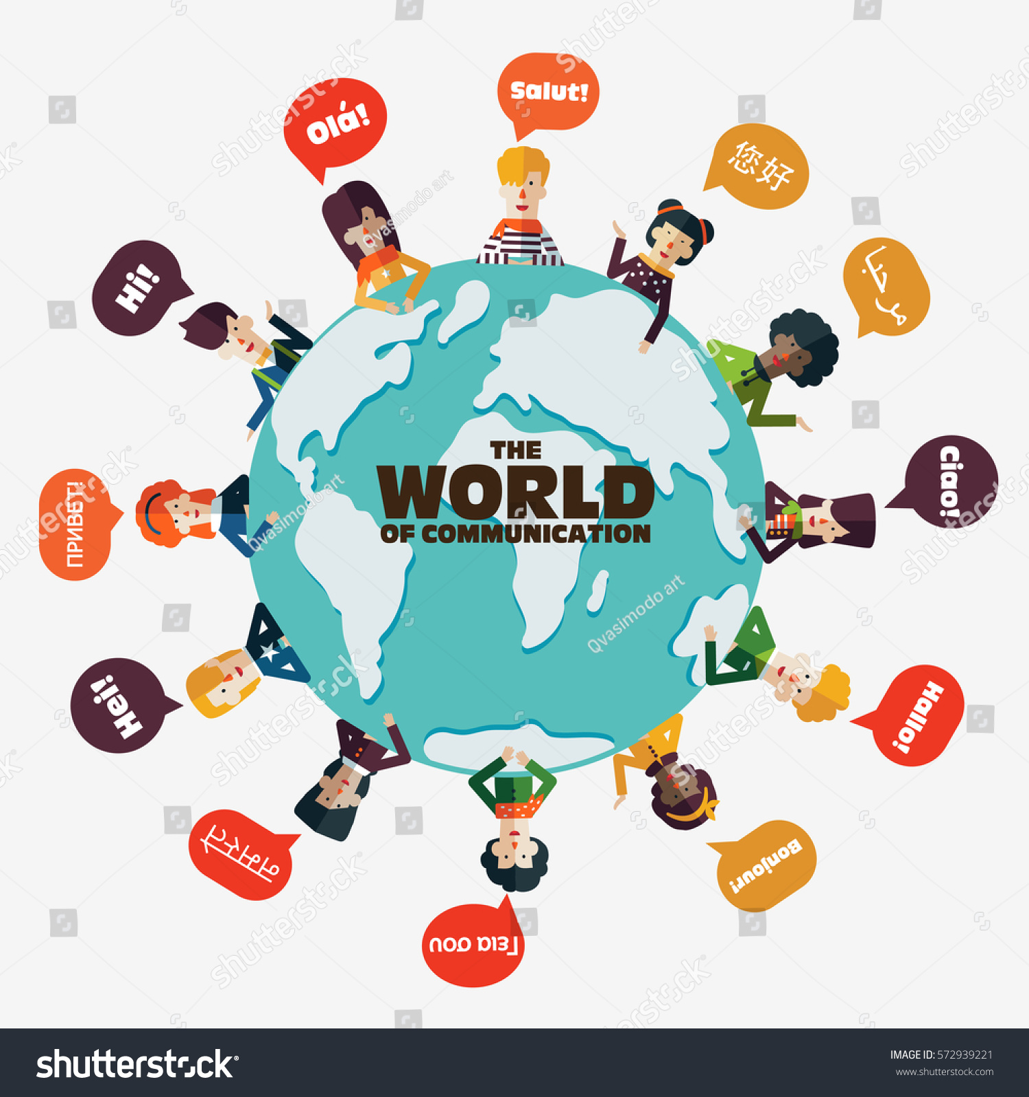Set Social People On World Map Stock Vector 572939221 -1114