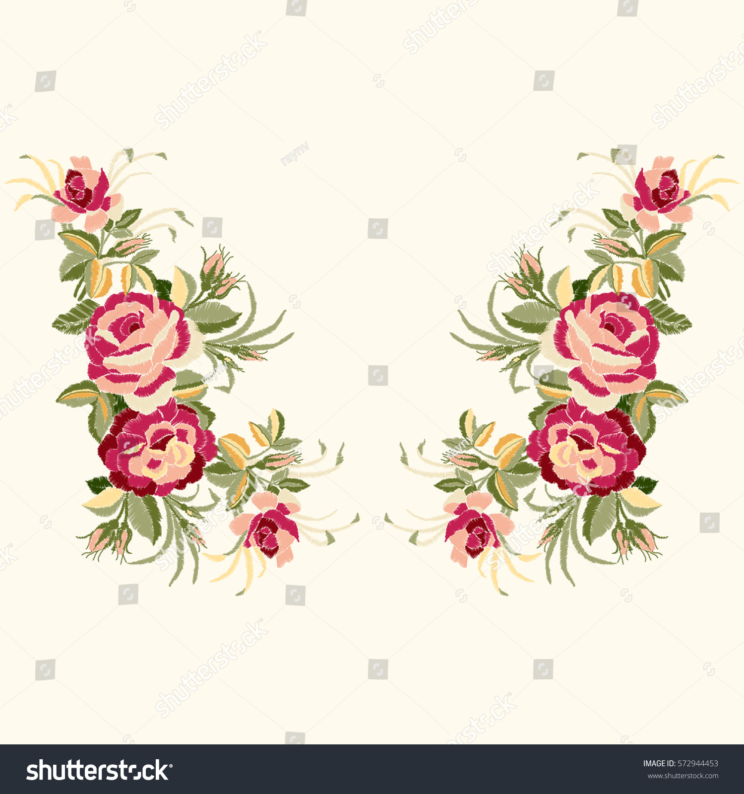 Red roses embroidery leaves buds ethnic stock vector