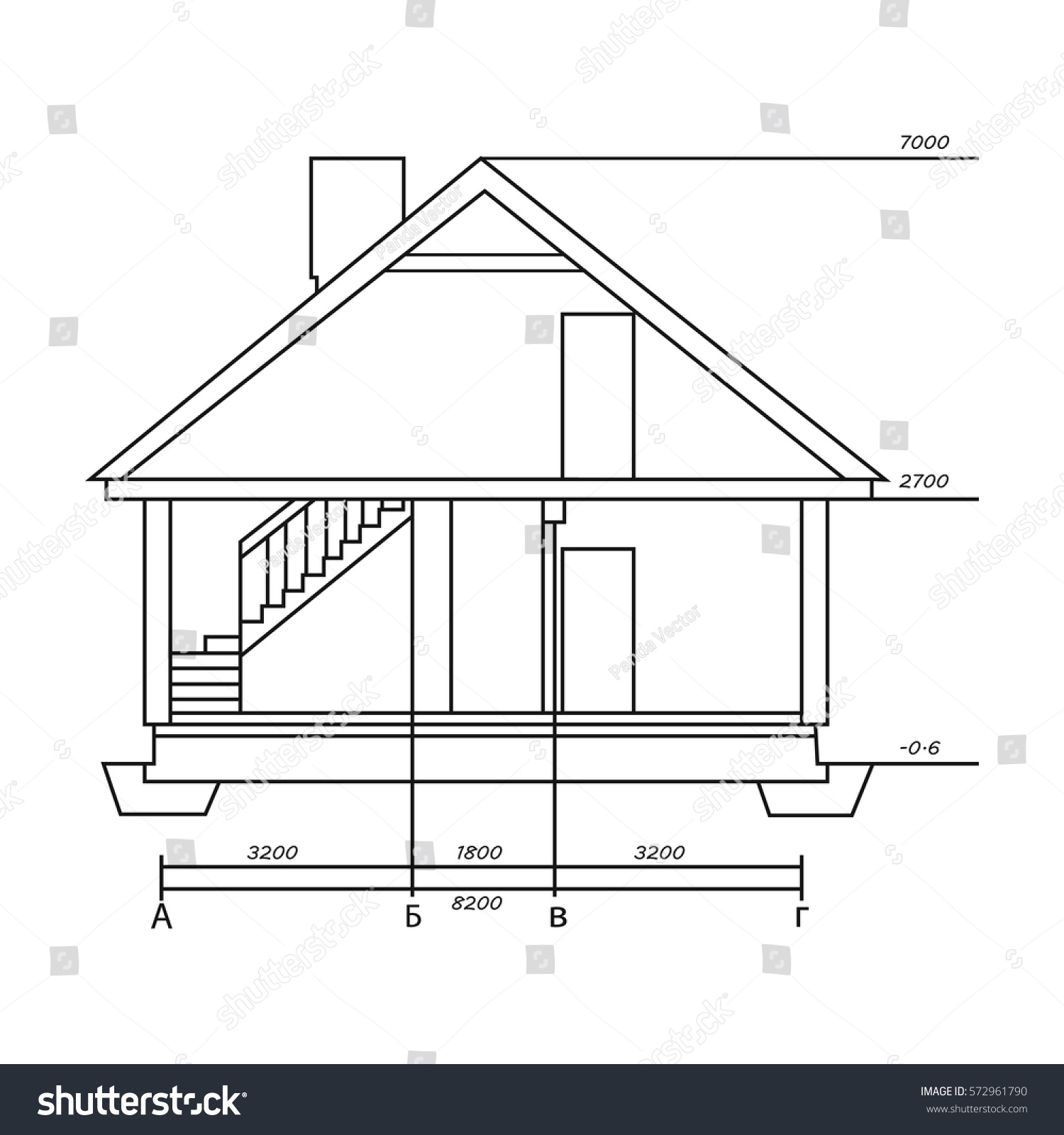 Technical Drawing Of House Icon In Outline Style Isolated On White Background Architect Symbol Stock