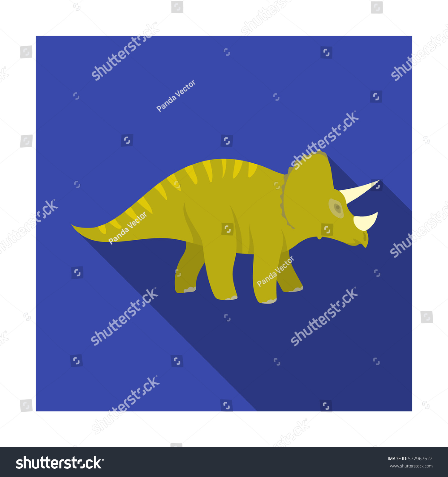 Dinosaur Triceratops Icon Flat Style Isolated Stock Vector