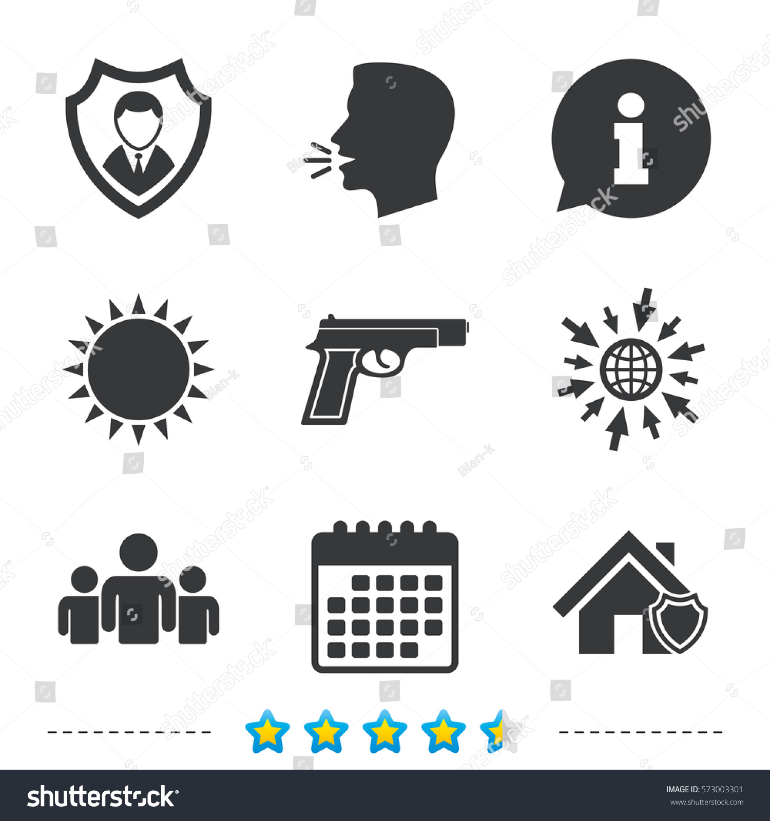Security agency icons home shield protection stock vector home shield protection symbols gun weapon sign group of people buycottarizona