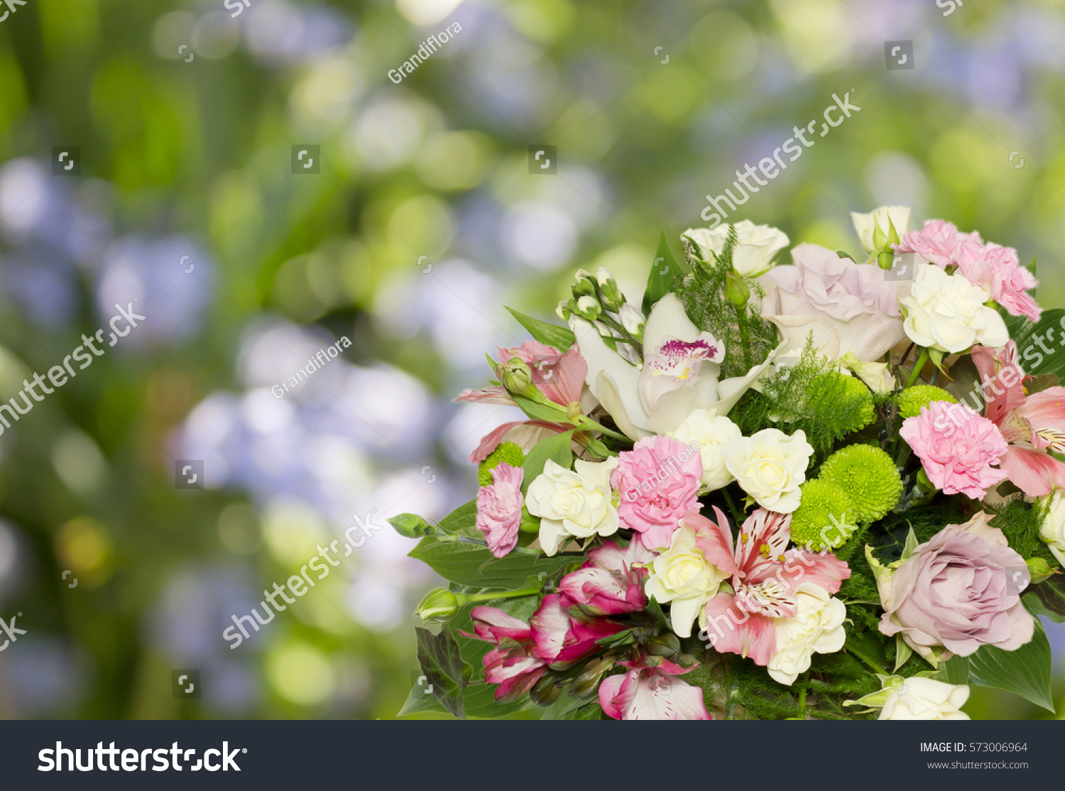 Beautiful Flowers Bouquet On Bokeh Background Stock Photo Edit Now