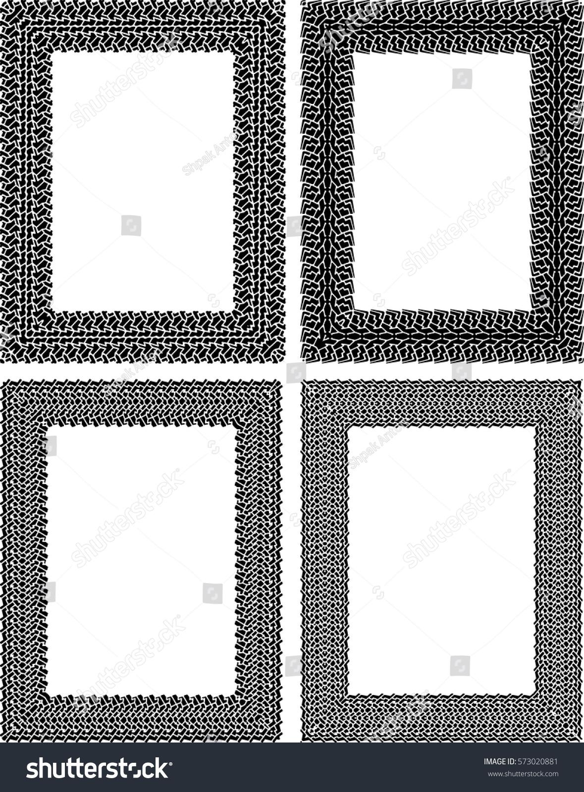 Set 4 Black Vector Rectangular Frames Stock Vector 573020881 ...