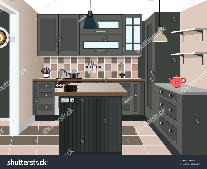 Kitchen Design Iconinterior Room Symbol Furniturekitchen Illustration