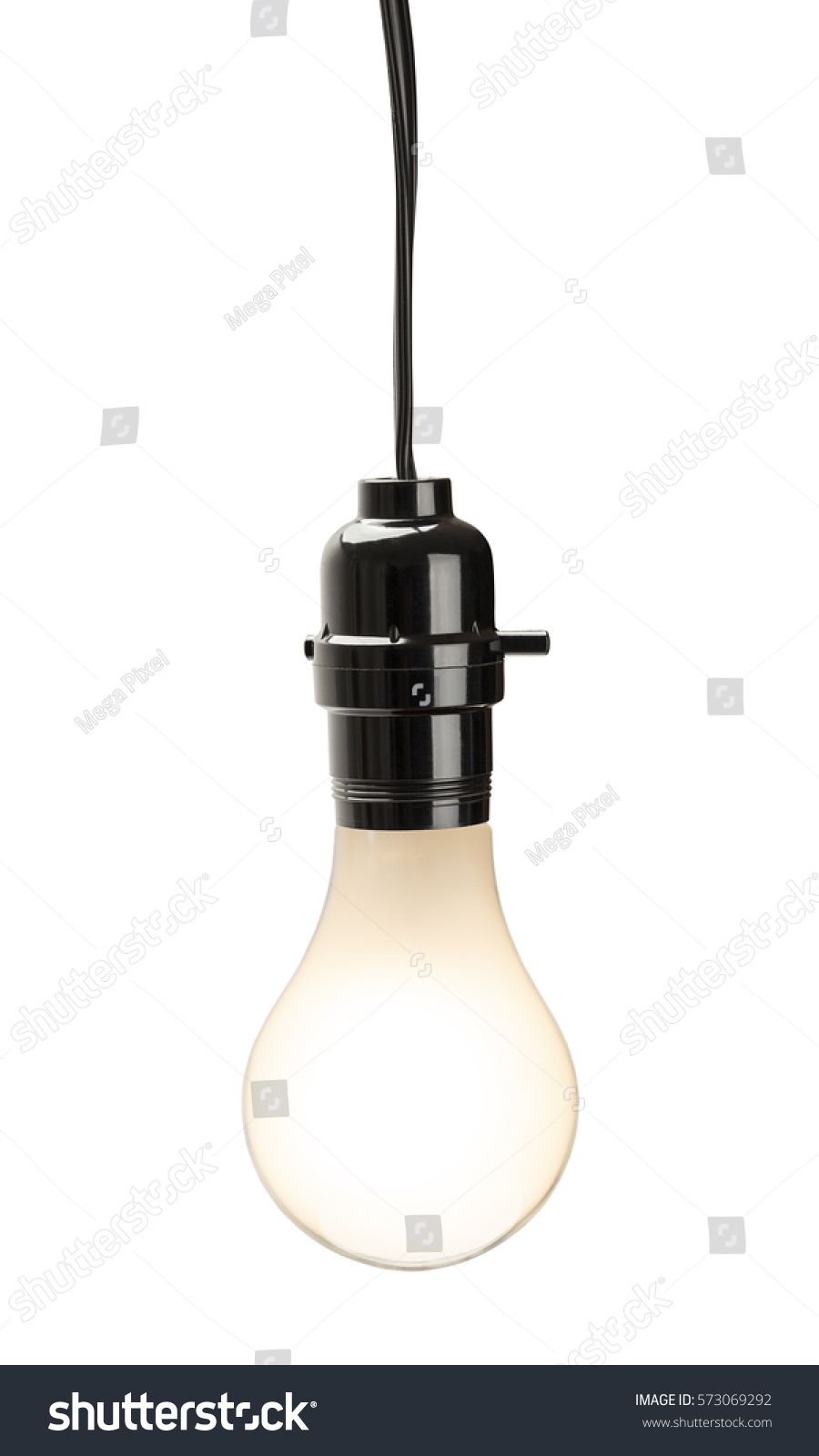 Lit Light Bulb Hanging With Cord Power Switch Isolated On White Background