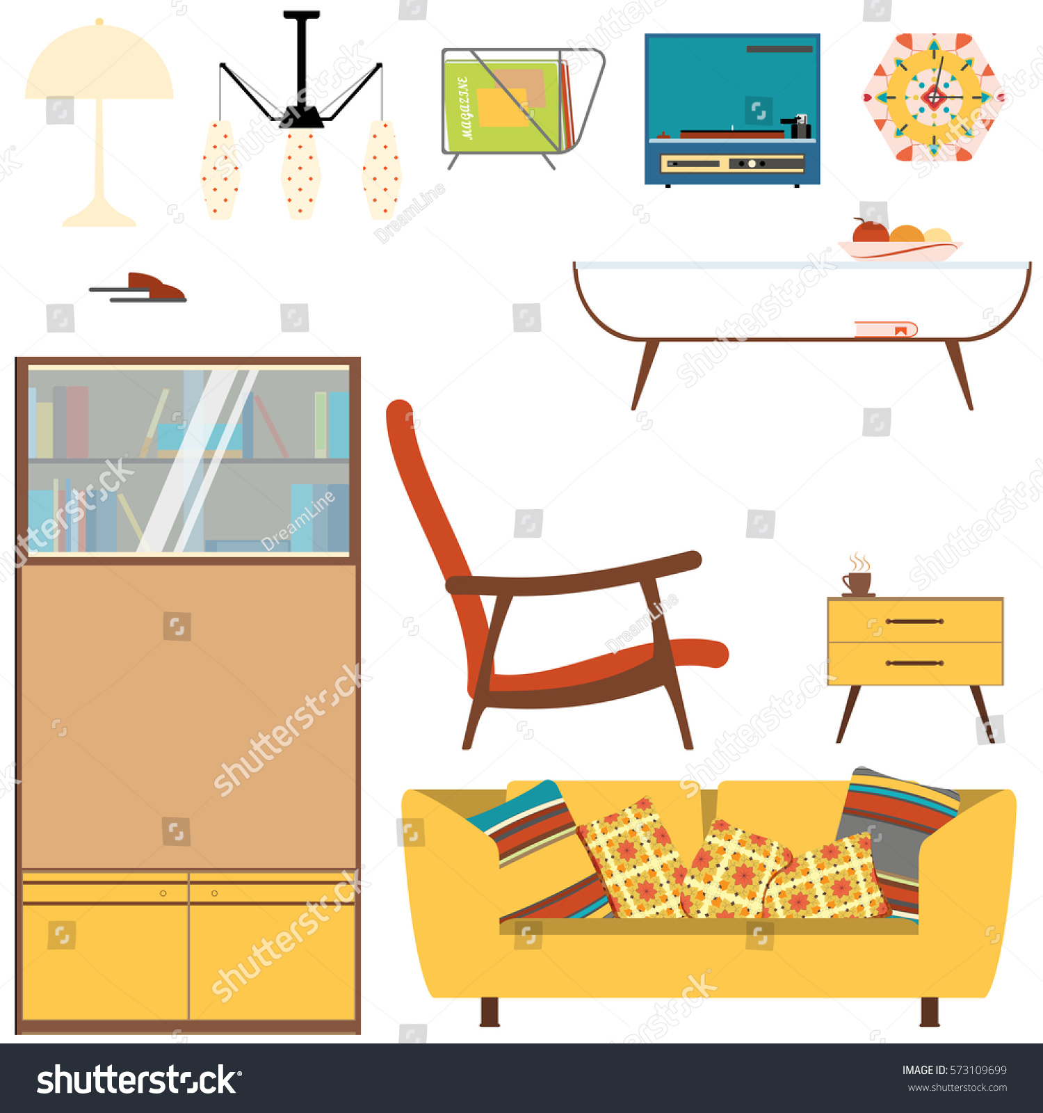 Set Living Room Interior Objects Yellow Stock Illustration 573109699 ...