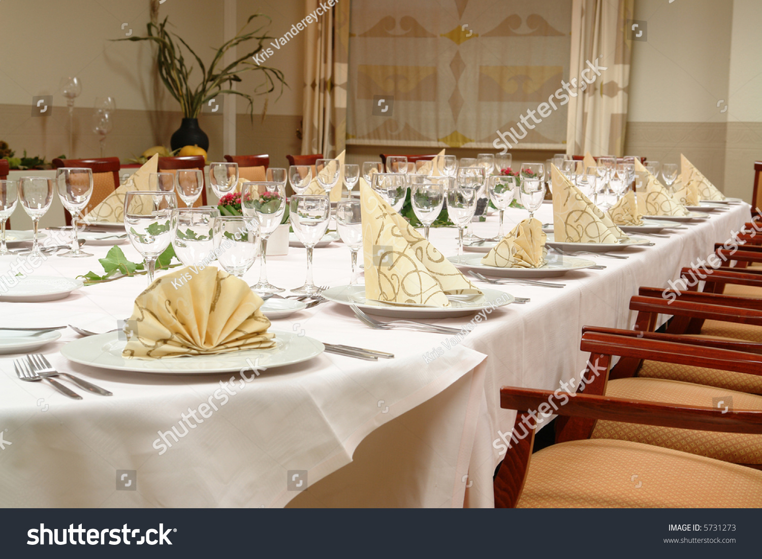 Table Setting Large Dinner Table Set Stock Photo 5731273