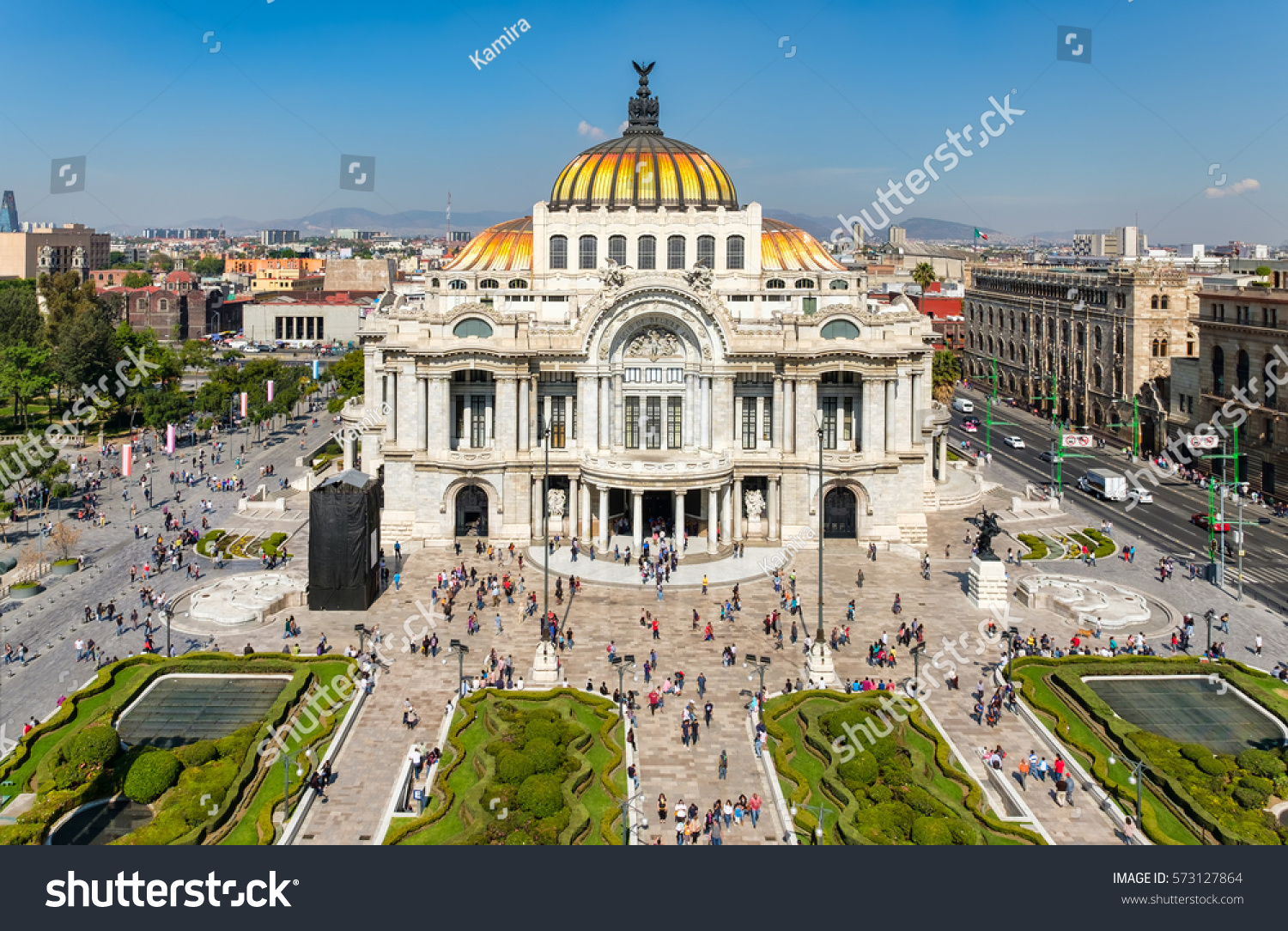 Palacio de Bellas Artes or Palace of Fine Arts, a famous theater,museum and music venue in Mexico City #573127864