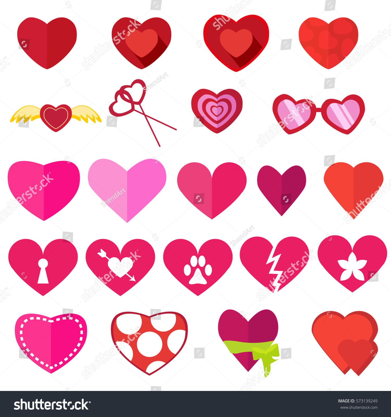 Set Hearts Valentines Day Flat Love 573139249