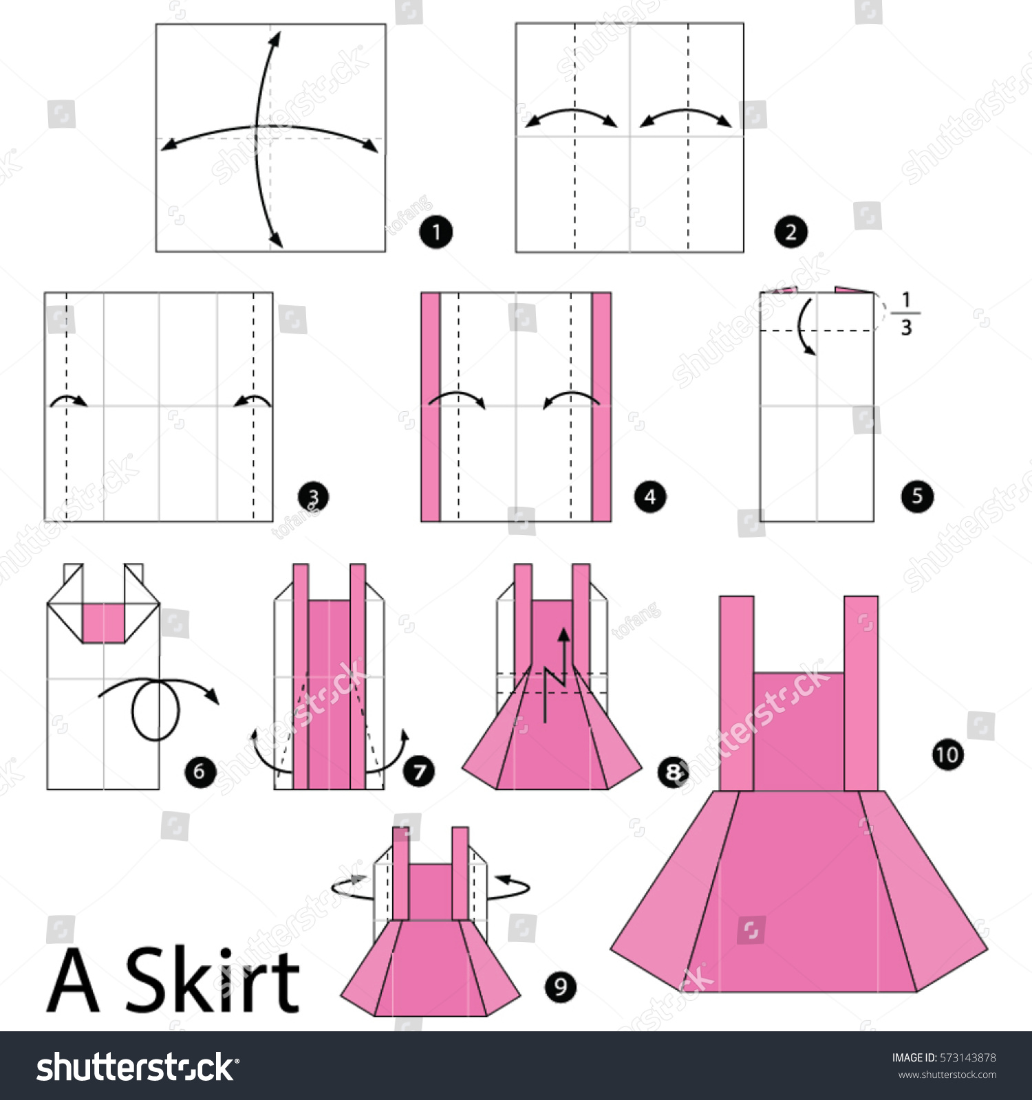 Complete origami dress instructions.