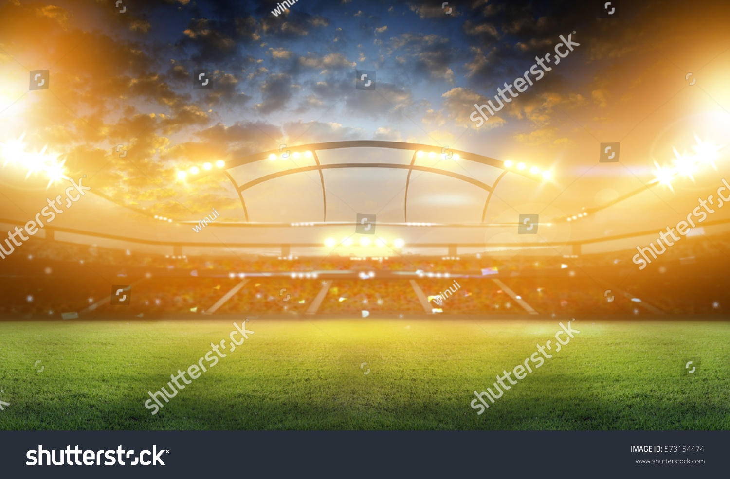 stadium in lights and flashes 3d. #573154474