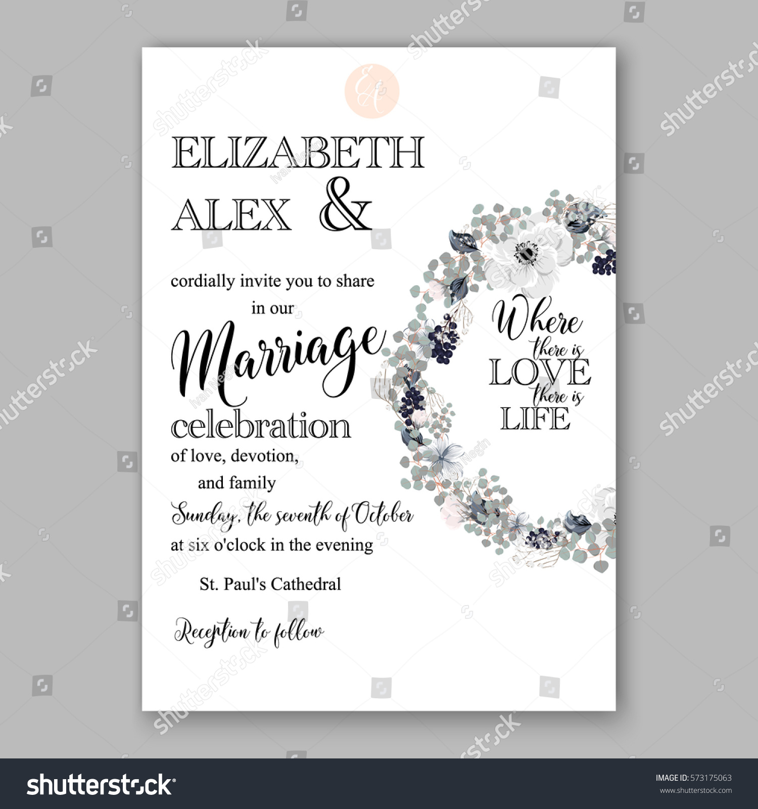 Anemone Wedding Invitation Card Template Floral Stock Vector HD ...