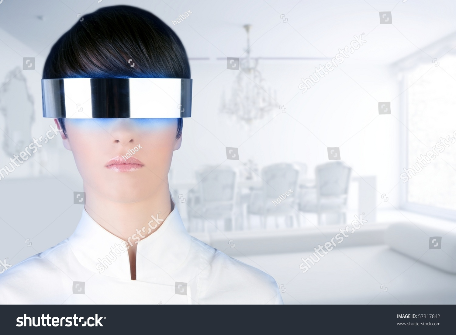 silver futuristic glasses woman modern white stock photo 57317842