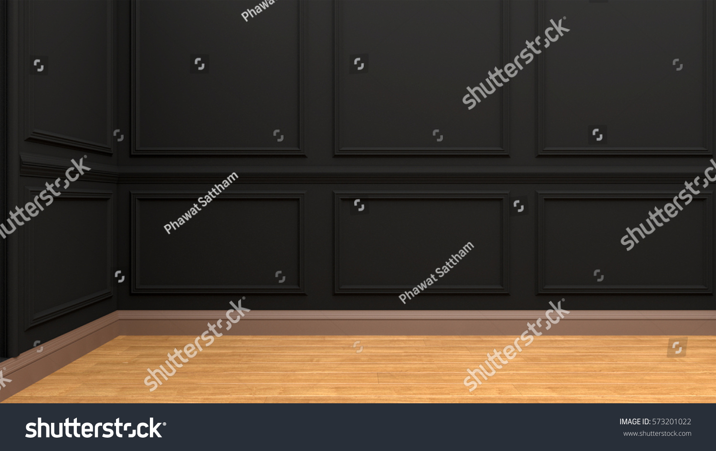 black color wall panel wood floor stock illustration