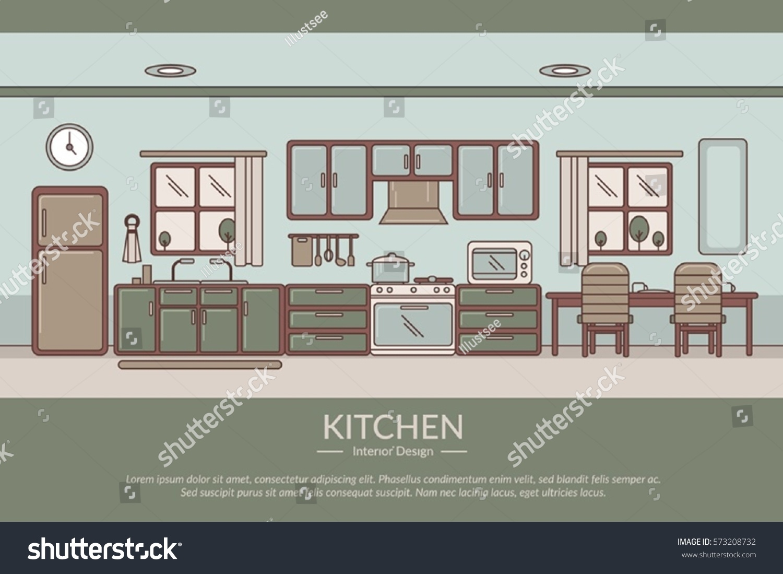 Kitchen interior design stock vector 573208732 shutterstock for Kitchen design vector