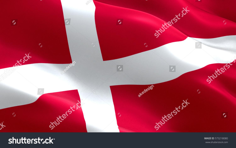 denmark flag waving colorful denmark flag stock illustration