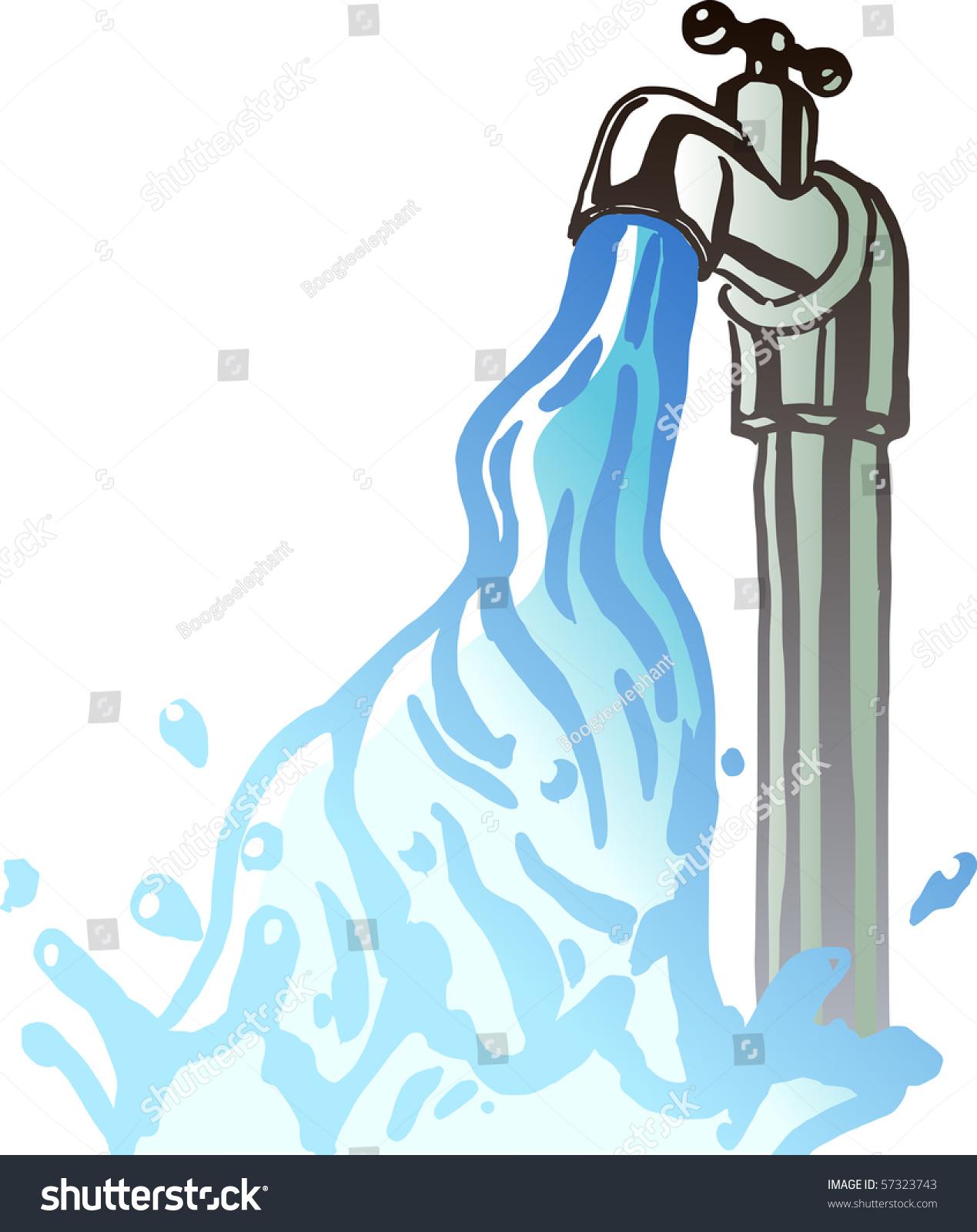 Running Water Faucet Stock Vector 57323743 - Shutterstock