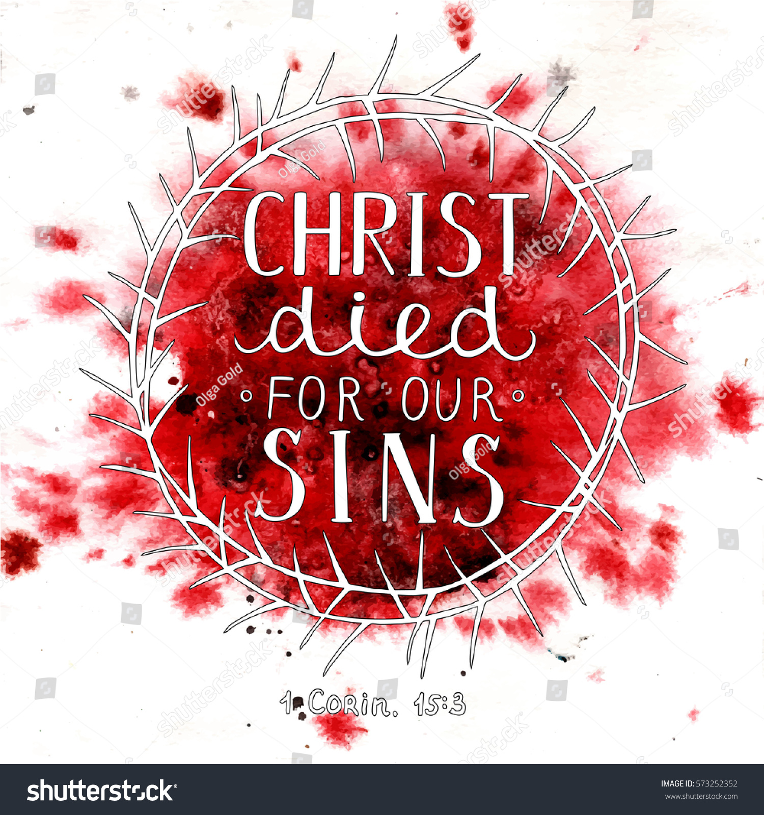 Hand Lettering Christ Died Our Sins Stock Vector 573252352 ...