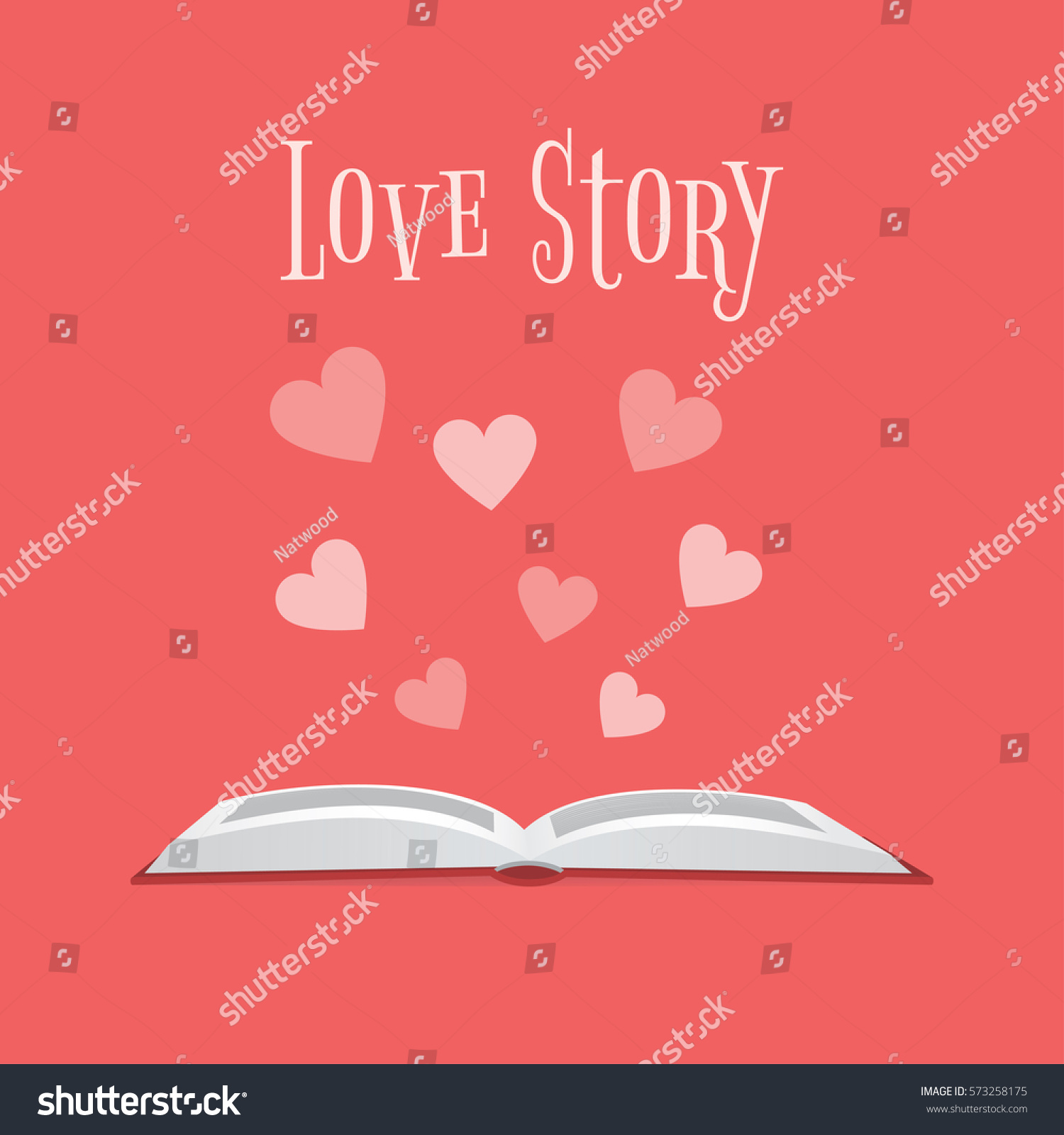 Illustration open book hearts above text stock illustration illustration of an open book and hearts above it with text love story altavistaventures Image collections