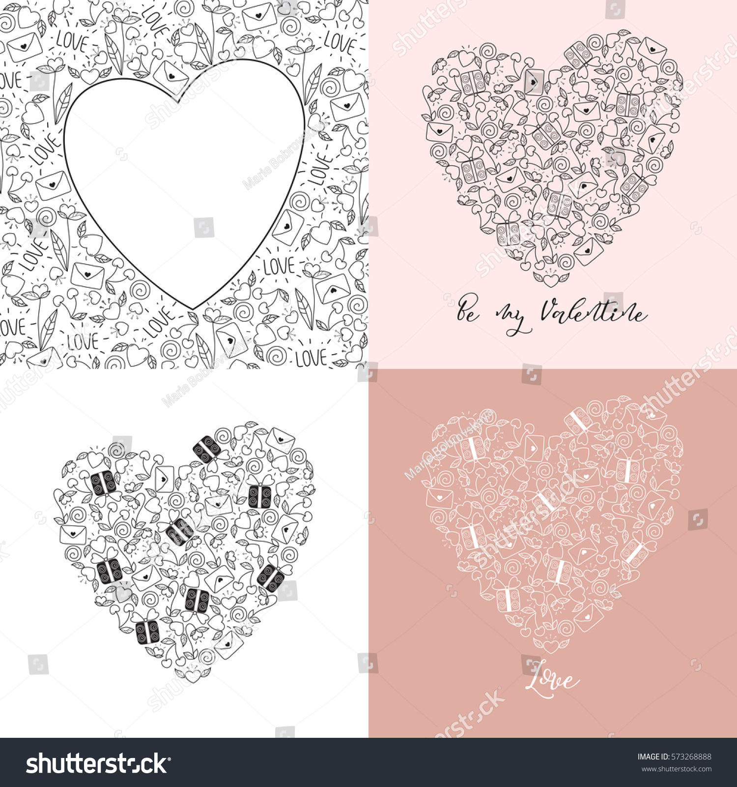 Set Of Valentines Day Hearts Blanks For Greeting Cards In Doodle