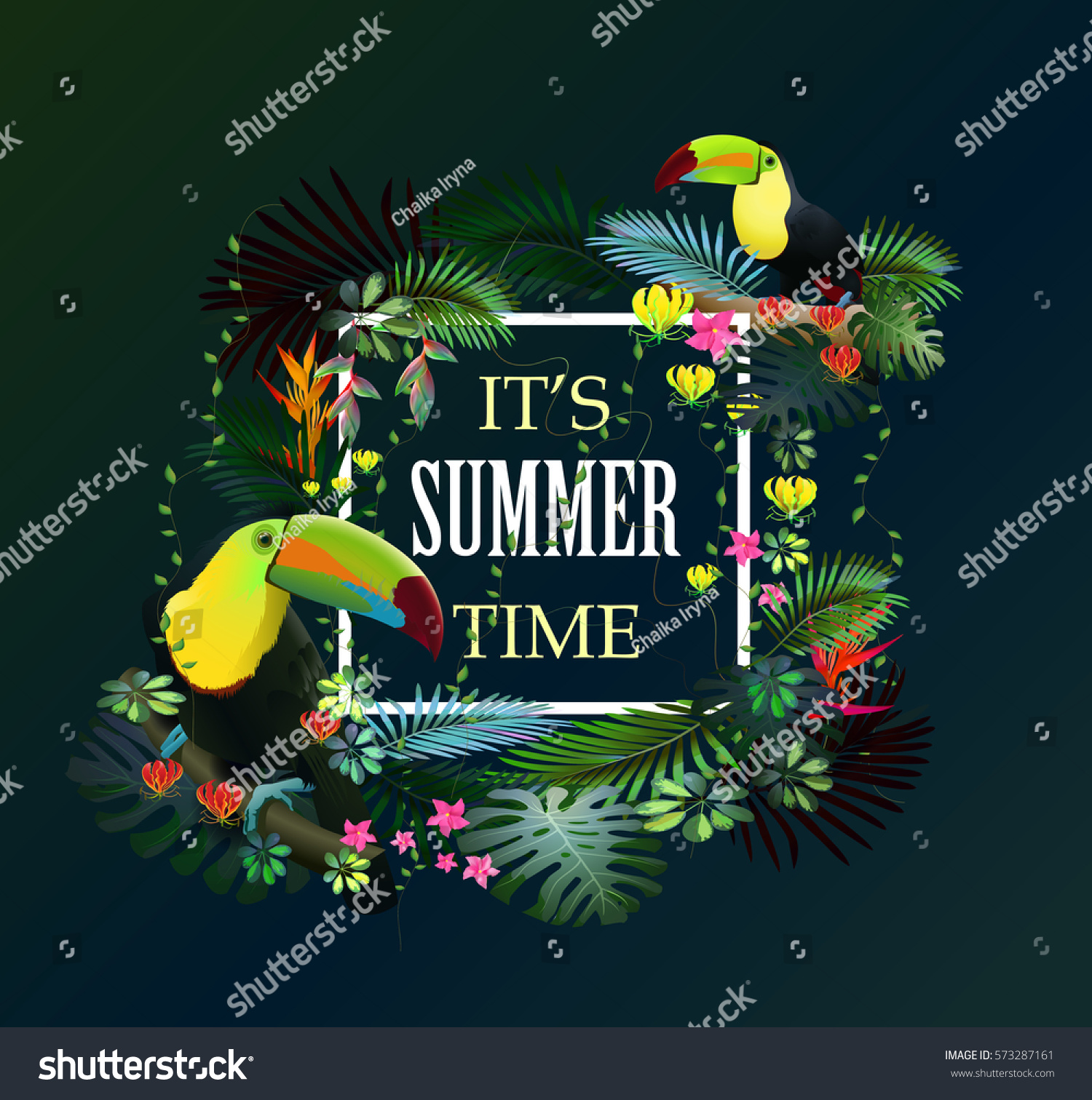Itu0027s Summer Time. Tropical Summer Quote With Tropic Forest And Toucans In  The Tropical Forest