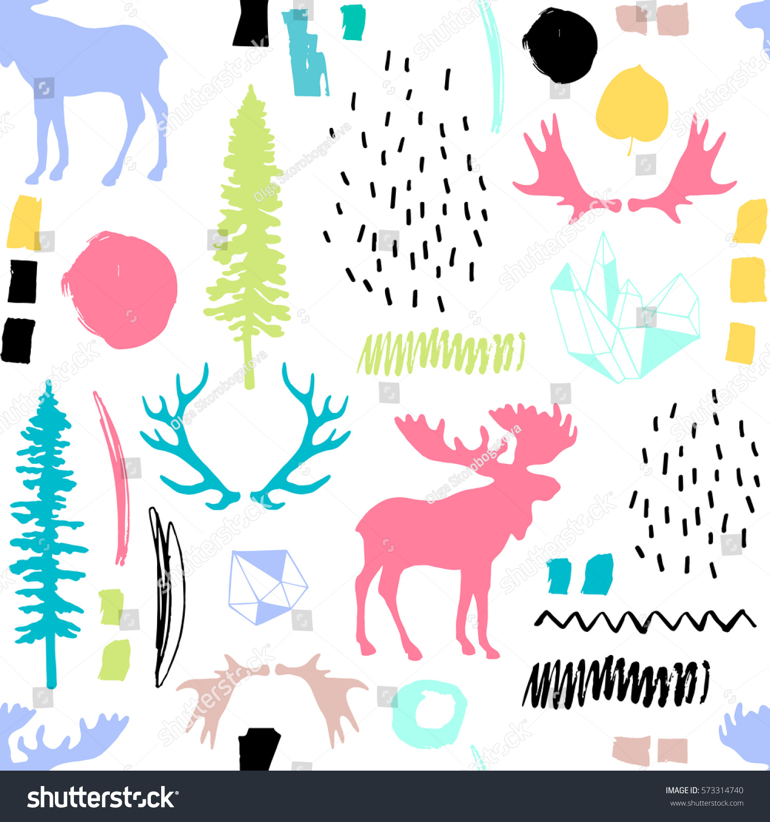 Seamless Wild Pattern Free Nature Vectorroyalty Forest Stock Ideal Nnw08vm