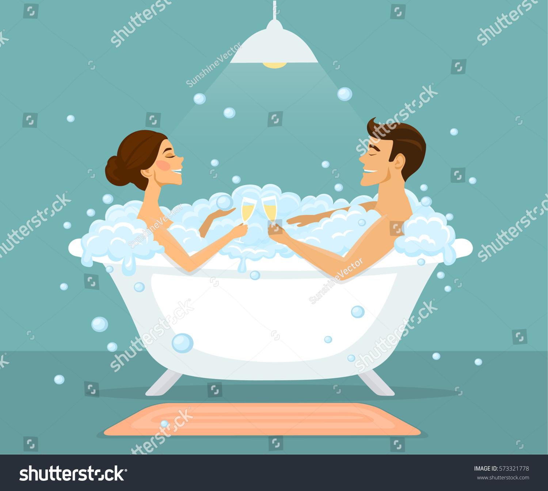 Couple Man Woman Taking Bath Vintage Stock Vector 573321778 ...