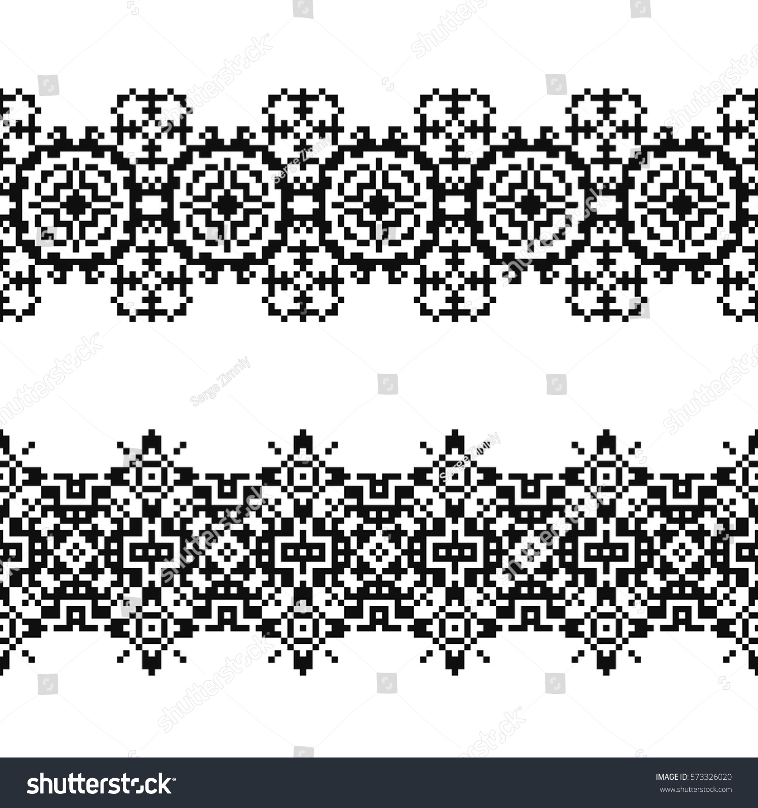 navajo bead designs. Set Of 2 Seamless Borders In American Indian Style. Embroidery Dotted Schemes. Pixel Navajo Bead Designs G