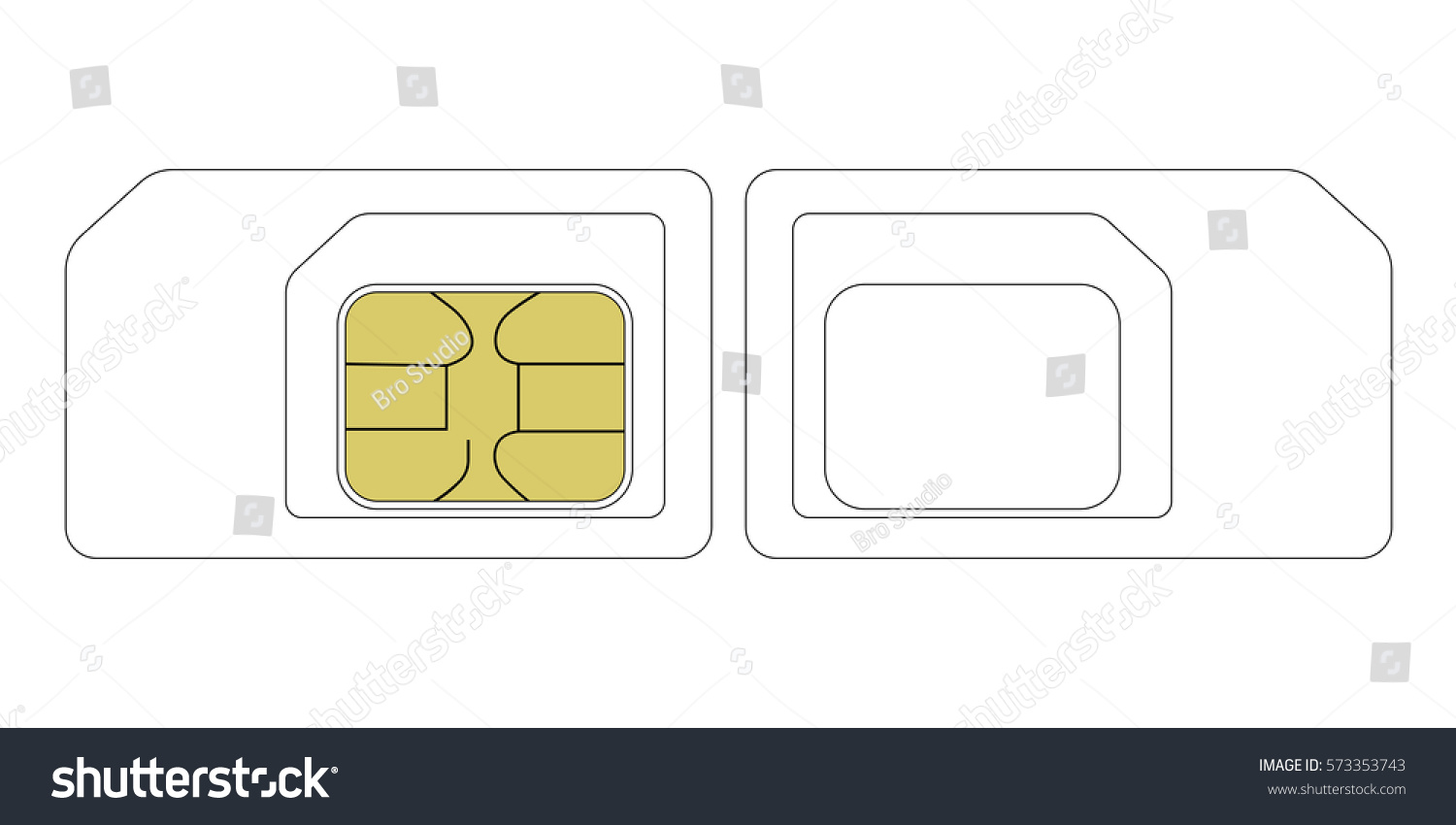 Sim Card Size Template Vector Nano Stock Vector 573353743 ...
