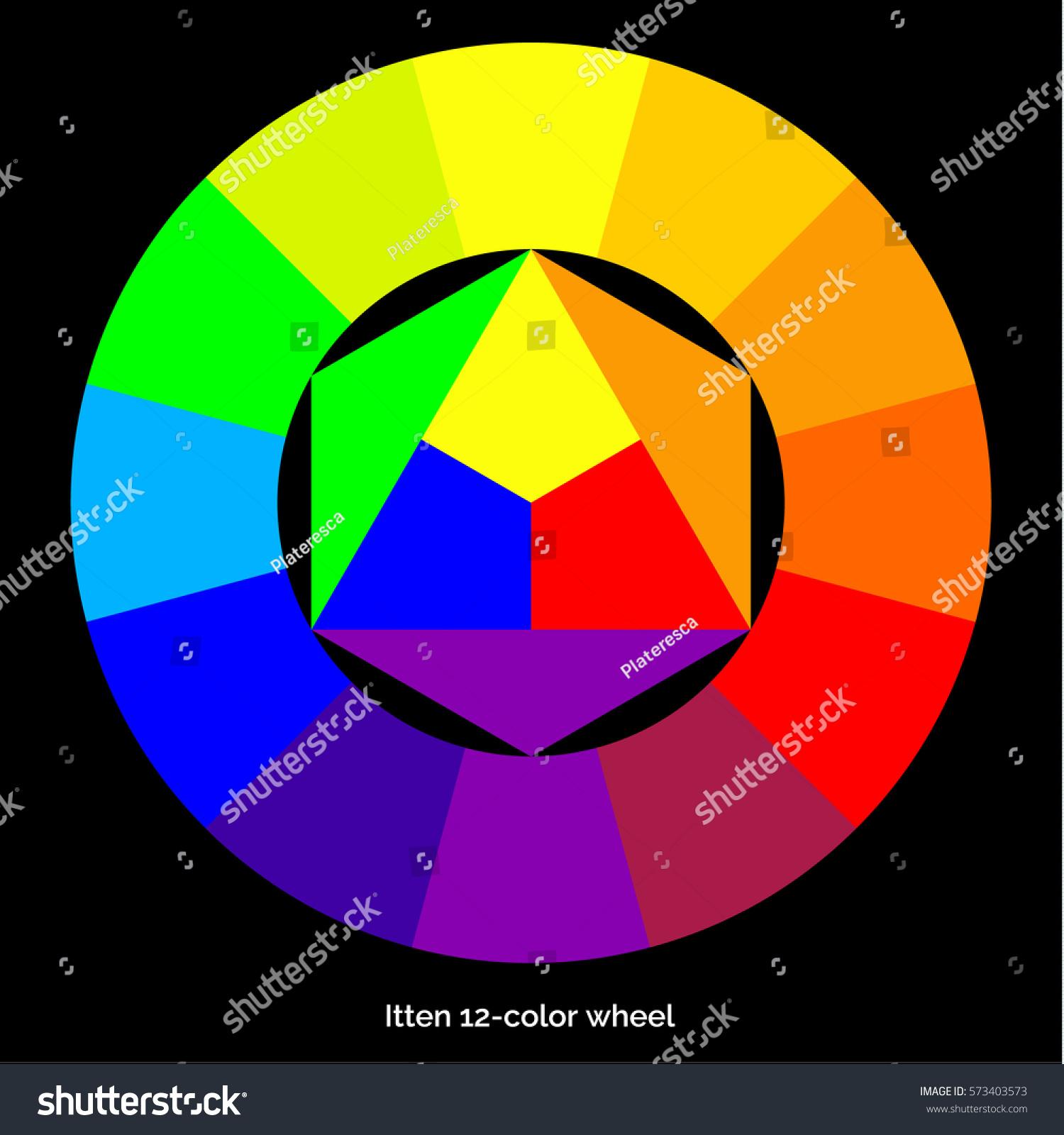 Vector Color Spectrum Ittens Twelve Colors Stock Vector 573403573 ...