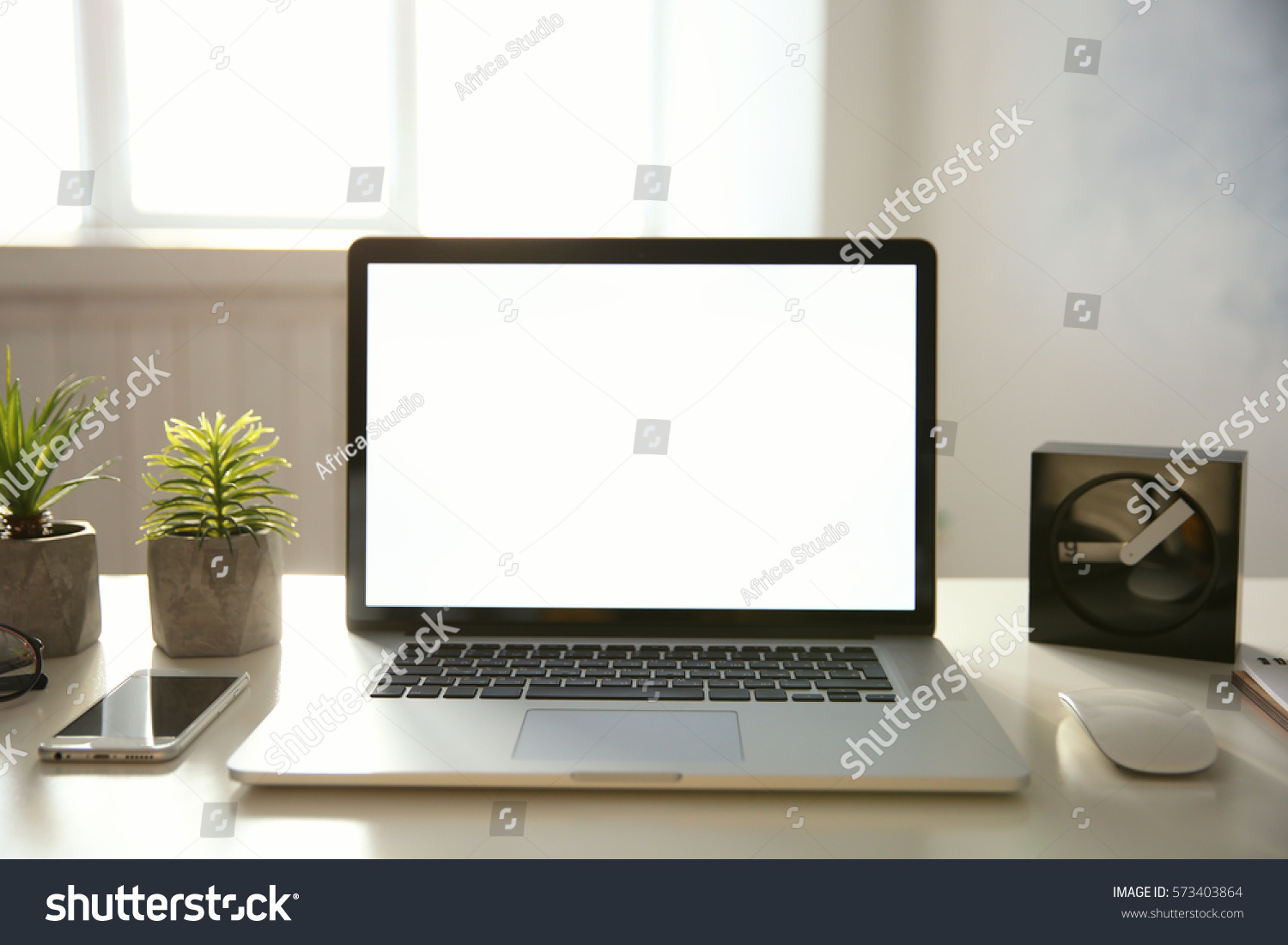 Modern Laptop Table workplace modern laptop on table stock photo 573403864 - shutterstock