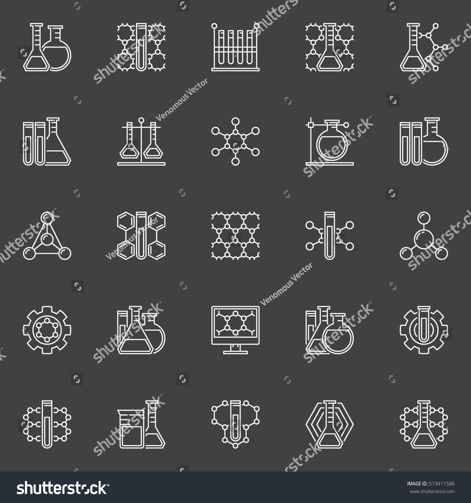 Chemistry Line Icons Collection Vector White Stock Vector 573411586