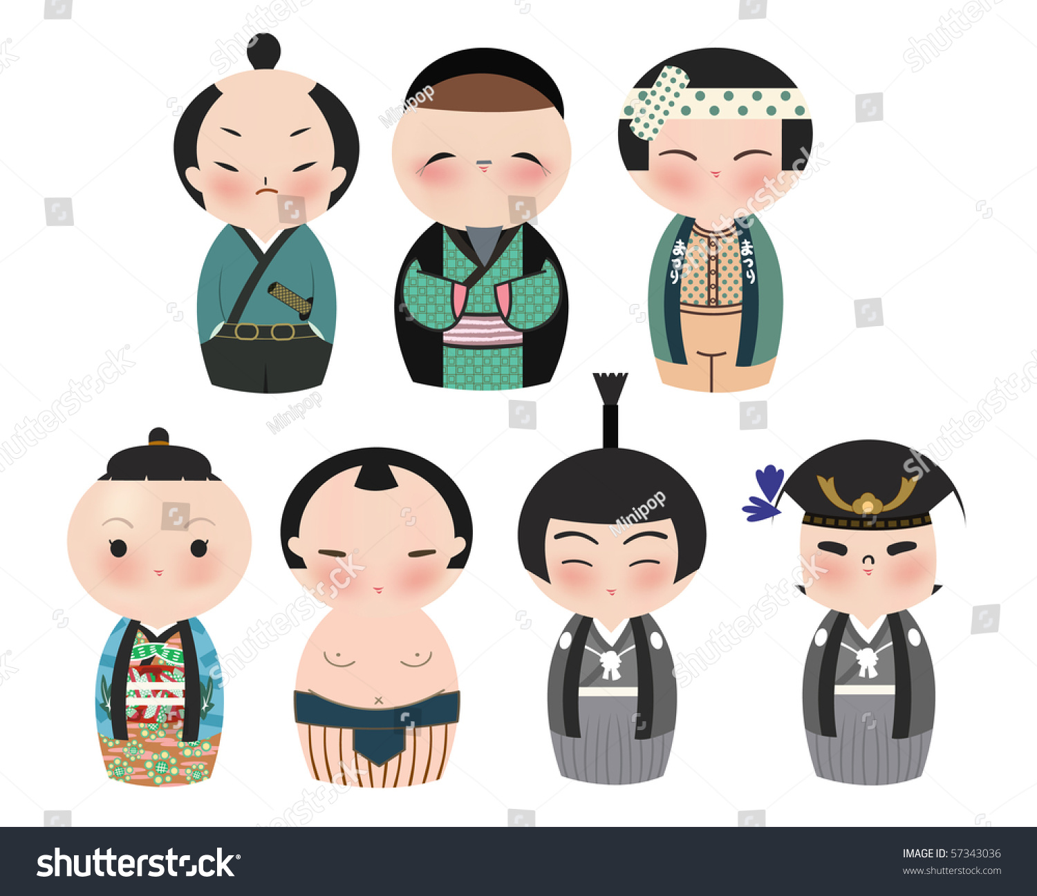 Series Cute Japanese Kokeshi Characters Stock Vector