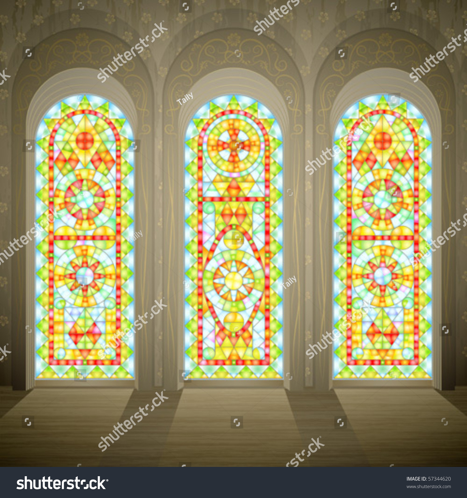Church Wall Three Tall Gothic Stained Stock Vector (Royalty Free ...